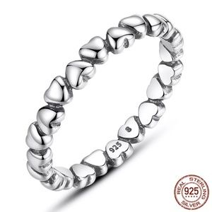 Cute Sterling Silver S925 Heart Ring Wedding Band